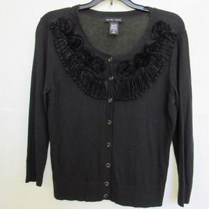 New York & Co Black Button Up Sweater Size Small